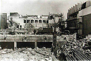 Demolition of the Sports Stadium West Street, Brighton. This view shows the Sports Stadium facing east and in clear view is the Art Deco section of the building which was the last part to be demolished. To the right of the photo the