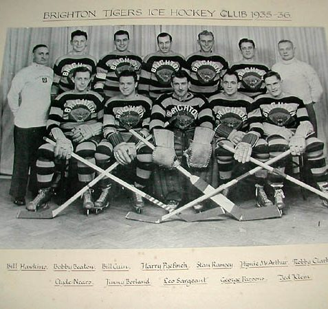 This is the first Brighton Tigers ice hockey team in 1935. Jimmy Borland (front row, second left) represented Great Britain in the 1936 Olympics. The Tigers dominated the game of ice hockey for the next thirty years and were famous throughout Britain and Europe.   Image scanned from the collection of Trevor Chepstow, Sports Stadium Brighton Archive