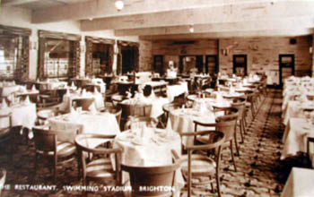 Silver Grill Restaurant of the Swimming Stadium, Brighton. The restaurant was open daily to the general public until 11.30pm each evening and lunch could be had for the princely of two shillings and six pence. A considerable amount in 1934! Dinner for nearly double the price at four shillings and six pence and a full a la carte menu was also available. Even the silverware was of the highest quality and provided by Mappin & Webb of London. The management stated it was always happy to show patrons over its model restaurant kitchens and see its expert chefs at work. The smooth running of the restaurant was conducted under the ever-watchful eye of the restaurant manager Mr L. Novelli, late of the Prince's, London.