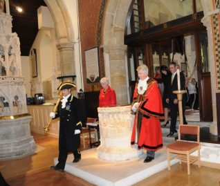 Preceded by the Mayoral Mace Bearer, Robert Robertson, the Mayor and Mayoress arrive at St Nicholas Church | Photo by Tony Mould