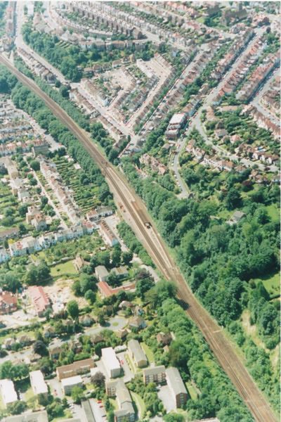 Aerial view of Preston Park Station, 1991 | Picture contributed on 11-05-04 by Ian McKenzie, from private collection