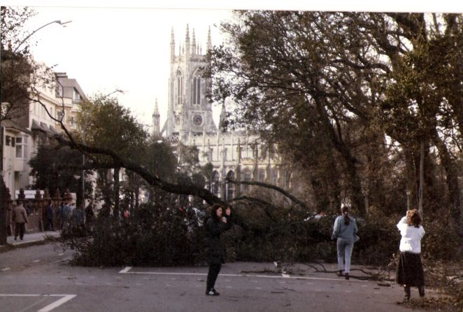Lewes Road looking towards St Peters church the day after the great storm of October 1987 | Photographed by Stuart Joseph