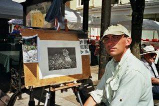 Kevin, artist, working in East Street   Photo by Zoe Bradford