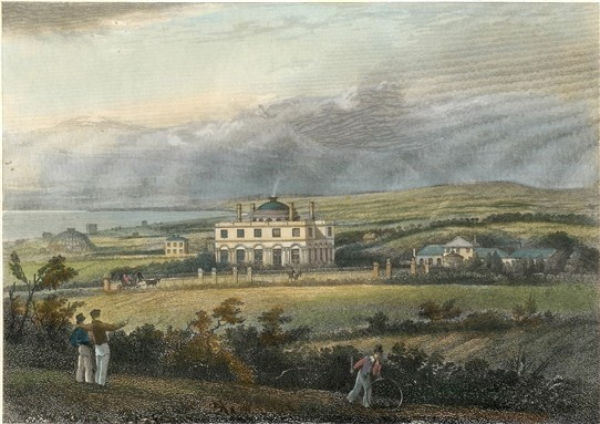 The Temple, home of Thomas Read Kemp, viewed from Clifton Hill. The Anthaeum is on the left of the picture | Artist: George Earpe