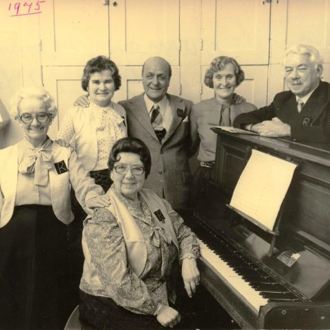 May Walker at piano and left to right; Dot Roche, Ivy Vincent, Tommy Marsh, Clarice Johnson and Ben James | From the private collection of Marion Goodwin