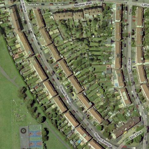 Virtual, gentle curve of Rowan Avenue | www.maps.live.com - Microsoft Virtual Earth