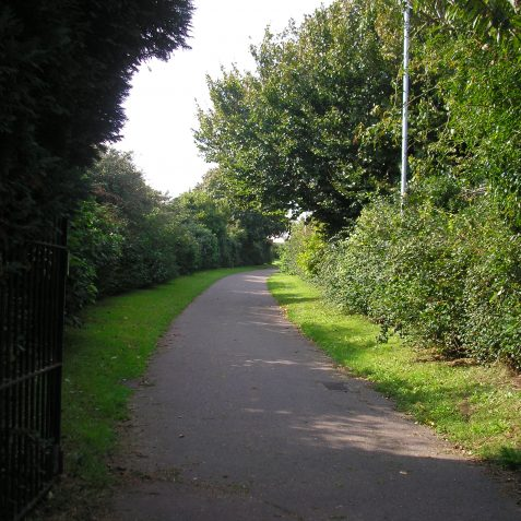 The curved path at the back of Rowan Avenue follows the old railway route | Photo by Peter Groves