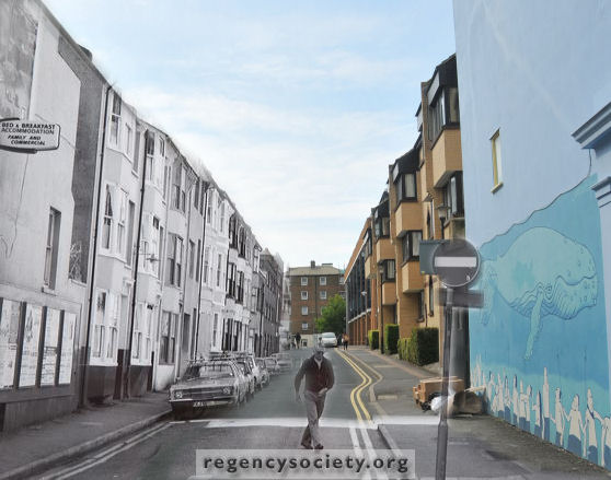 Photo collage of Tichborne Street. | New photo by Tony Mould: Old photo - Image reproduced with kind permission of The Regency Society and The James Gray Collection