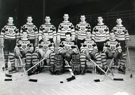 Brighton Tigers Ice Hockey Club, 1952-1953.  Back row: Bobby Lee (coach), Jim Herriot, Don Crough, Don Mann, Lorne Trottier, Bob Bragaganola, Bill McDonald.  Front row: Bruce Bell, Ron Barr, Gib Hutchinson, Freddy Sutherland, Lea Hardy. Missing: Johnny Oxley, Robbie Skeates, Fish Robertson. | From the SS Brighton Archive