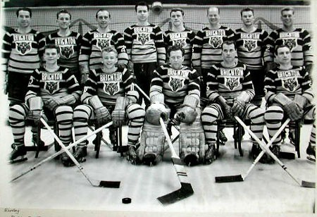 Brighton Tigers Ice Hockey Club, 1951-1952. Back row: Bobby Lee (coach), Skippy Frezell, Al Truelove, Lorne Trottier, Mike O'Brien, Johnny Oxley, Jim Herriot, Lee Hardy.  Front row: Bruce Bell, Ron Barr, Gib Hutchinson, Freddy Sutherland, Lennie Baker. Missing: Fish Robertson, Jim Szabo, Billy Fisher, Doug Wilson. | From the SS Brighton Archive