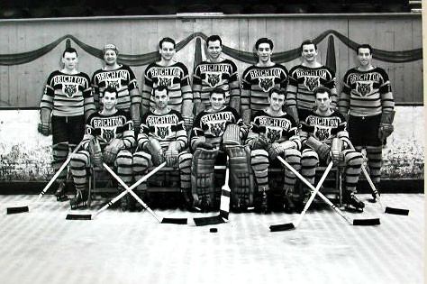 Brighton Tigers Ice Hockey Club, 1953-1954. Back row: Bill McDonald, Johnny Oxley, Bob Kelly, Lorne Trottier, Bob Bragagnola, Jim Herriot, Bobby Lee (manager and coach). Front row: Gilles Trudel, Freddy Sutherland, Allan Bucholz, Mike O'Brien, Lea Hardy. Missing: Fish Robertson, Merv Kahoot, Mike Daski. | From the SS Brighton Archive