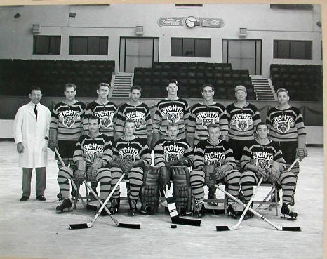 Brighton Tigers Ice Hockey Club, 1954-1955. Back row: Sam Cowan (trainer), Lea Hardy, Mike O'Brien, Reg Campbell, Stuart Hall, Bob Bragagnola, Johnny Oxley, Alf Harvey. Front row: Freddy Sutherland, Gaston Pellitier, John Reinhart, Ron Barr, Clarmont Doyon. Missing: George Beech, Bruno Pasqualatto. | From the SS Brighton Archive