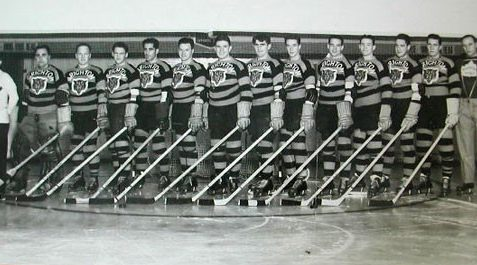Brighton Tigers Ice Hockey Club, 1936-37. Left to right: Bill Hawkins (trainer), Patsy Seguin, Jimmy Kelly, Arthur Seaford, Al Rogers, Jimmy Borland, Johny Taugher, Vince Gallagher, Bobby Lee, Gordie Poirier, Van Gibson, Hap Ingram, Johny Hamilton, Don Penniston (coach) | From the SS Brighton Archive