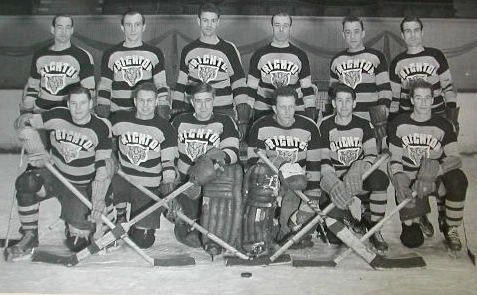 Brighton Tigers Ice Hockey Club, 1946-47. National League Champions. National Tournament & Autumn Cup Winners. Back row: Gordie Poirier, Al Truelove, Lenard 'Lefty' Wilmot, Bill Davis, Frank 'Casey' Stangle, Lennie Baker. Front row: Bill Booth, Jimmy Chappell, 'Nobby' Richardson, Gib Hutchinson, Lee Thorne, Bobby Lee (Centre Ice; captain & coach) | From the SS Brighton Archive
