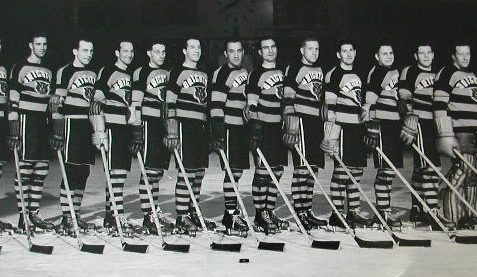 Brighton Tigers Ice Hockey Club, 1947-48. National League Champions. Left to right: Lorne Trottier, 'Lefty' Wilmot, Al Truelove, Gordie Poirier, Tommy Durling, Bobby Lee (coach), 'Casey' Stangle, Lennie Baker, Bill Rooker, Lee Thorne, Jimmy Chappell, Bill Booth, Gib Hutchinson. Missing: Frank Whibley, Harry Vedan. | From the SS Brighton Archive