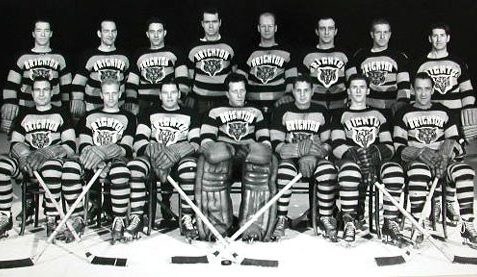 Brighton Tigers Ice Hockey Club, 1948-49.  Back row: Bobby Lee (coach), Gordie Poirier, Tommy Durling, Lorne Trottier, Johnny Oxley, Al Truelove, Bill Rooker, Lee Thorne. Front row: Lennie Baker, Frank Whibley, Bill Booth, Gib Hutchinson, Jimmy Chappell, Ted Cumming, 'Casey' Stangle. Missing: 'Lefty' Wilmot, Harry Vedan. | From the SS Brighton Archive