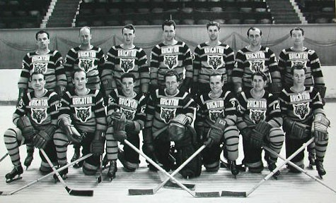 Brighton Tigers Ice Hockey Club, 1949-50.  Back row: Jean Paul Lacroix, Johnny Oxley, Tommy Jamieson, Lorne Trottier, 'Lefty' Wilmot, Al Truelove, Bobby Lee (coach).  Front row: Lennie Baker, Stan Gaudreault, Andy Rochon, Gib Hutchinson, Johnny Evans, Lee Thorne, Vern Gardiner. Missing: Fish Robertson. | From the SS Brighton Archive