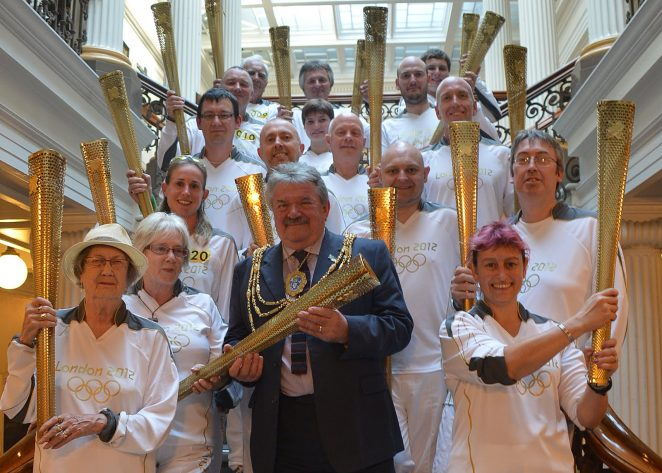 The Mayor with the torchbearers | Photo by Tony Mould