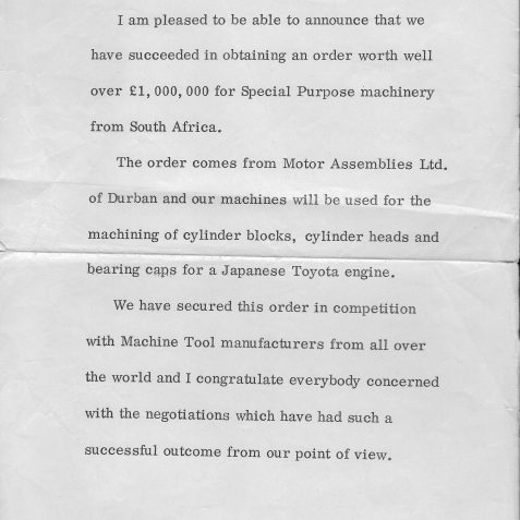 Toyota Award Notice | From the private collection of Steve Hussey