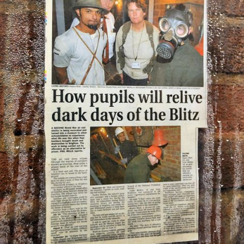 Newspaper article about the reopening of 'The Trenches' | Photo by Tony Mould