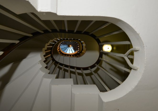 Spiral staircase to upper floors | ©Photo by Tony Mould