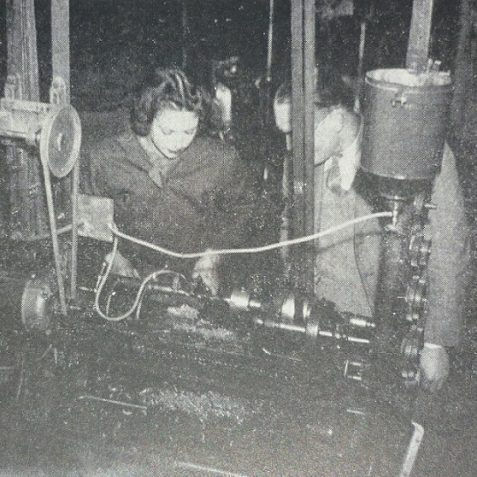 Munitions lathe work | Photo from the 1946 book,