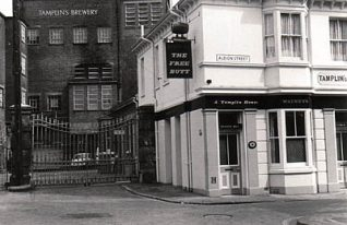 Photograph shows Free Butt pub and Tamplin's brewery, Albion Street | Photo taken by Martin Nimmo, circa 1968