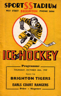 Cover of programme for Brighton Tigers ice hockey match, October 1950 | From the private collection of Trevor Chepstow