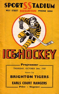 Cover of programme for Brighton Tigers ice hockey match, October 1950 | From the private collection of the late Trevor Chepstosw
