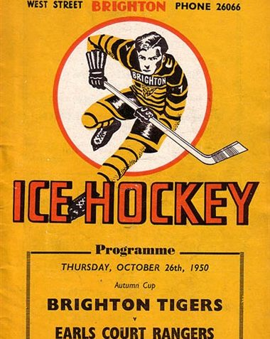 Cover of programme for Brighton Tigers ice hockey match, October 1950   Image scanned from the collection of Trevor Chepstow, Sports Stadium Brighton Archive