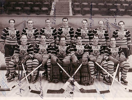 Team photo of the Brighton Tigers c1950 | Image scanned from the collection of Trevor Chepstow, Sports Stadium Brighton Archive