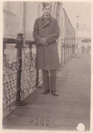 Tony Simmonds on Brighton Pier when it re-opened Christmas 1947. Tony is pictured wearing his RAF uniform. | From the private collection of Tony Simmonds