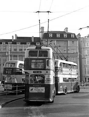 Brighton trolley bus in the Old Steine | From the private collection of Martin Nimmo