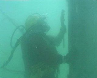 Diver working on the West Pier underwater structure   Photograph by Sean Clark