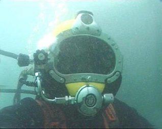 Sean wearing diving helmet | Photograph by Sean Clark