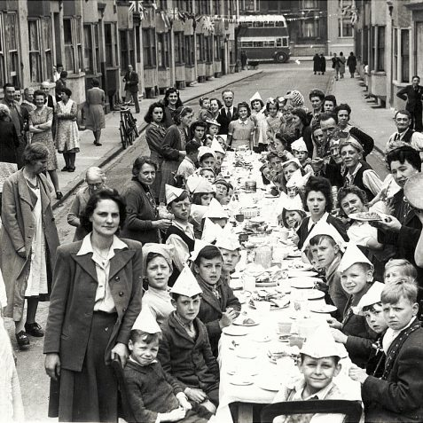 May 1945: a Victory in Europe street party held in St Paul's Street, Brighton. | Reproduced courtesy of  Royal Pavilion, Libraries & Museums, Brighton & Hove