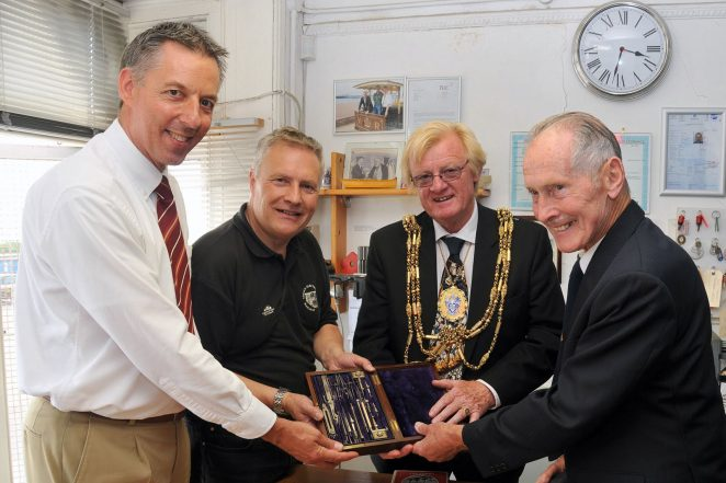 Graham Volk, Stuart Strong (Volks Railway) Councillor Geoffrey Wells and Bernard Volk with Magnus Volk's original personal drawing kit | Photo by Tony Mould