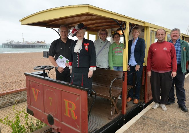 Volk's Railway manager Stuart Strong, the High Sheriff of East Sussex, Juliet Smith and members of the Volk's team | ©Tony Mould:images copyright protected