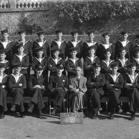 Class number 60 on passing out as trained Telegraphists (S) in the grounds of West House, c. summer 1943. | From the private collection of Tony Drury