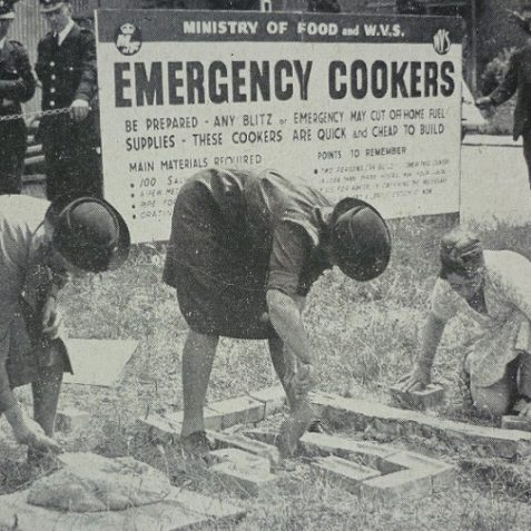 W. V. S. learn to make emergency cookers | Photo from the 1946 book,