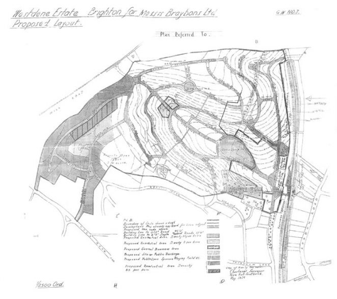 Original May 1938 plan for the Withdean Estate West (Westdene Estate) This plan for the Westdene Estate was drawn up in May 1938 and attached to the agreement between Brighton Corporation and Braybon Limited, the developers. | From the private collection of David Fisher