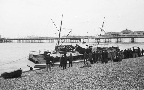Beached boat c1950s