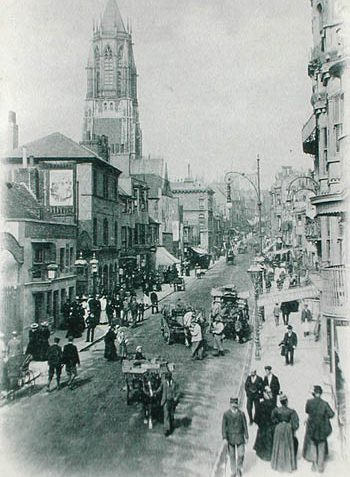 This is an original postcard of West Street and is possibly late Victorian.To the left/bottom of the photo is possibly the