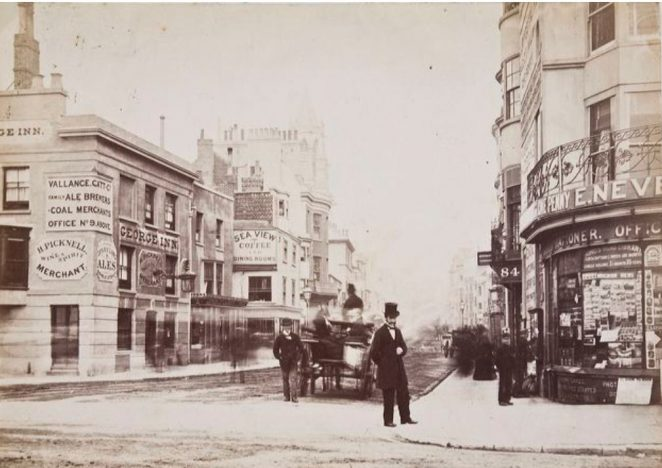 Old West Street, about 1878, showing the original George Inn which was built in the early years of the century. It was demolished and rebuilt in 1892. | Image reproduced with kind permission of The Regency Society and The James Gray Collection