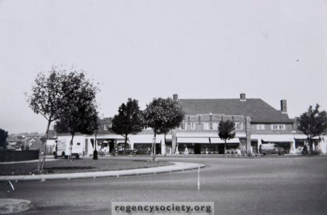 West Way shops viewed from Hangleton Road. Click for large image   Image reproduced with kind permission of The Regency Society and The James Gray Collection