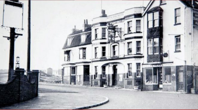 The Royal Oak Hotel in 1935, shortly before it was demolished for widening of the coast road at Rottingdean. | Image reproduced with kind permission of The Regency Society and The James Gray Collection