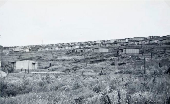 These prefabs were built in the late 1940's as a temporary extension of the pre-war Whitehawk Council Estate. They were designed to have a life of about 10 years, and soon after that period had elapsed, their removal commenced. View from the foot of Findon Road with Nuthurst Road seen at the extreme left. Subsequently, this area was largely given over to
