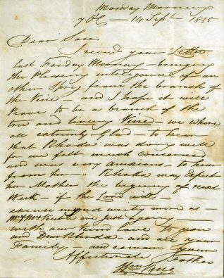 Letter from William Vine to his son-in-law John | Reproduced by kind permission of Karen and Andrew Belton