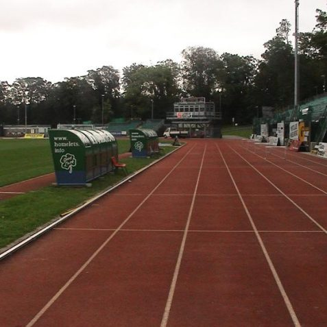 The running track between the stands and pitch | Photo by David Lockie
