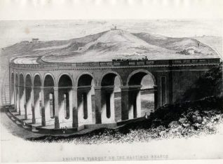Brighton Railway Viaduct, c. 1850. Engraving of steam engine crossing Brighton Viaduct on the Hastings branch line. | Image reproduced with kind permission from Brighton and Hove in Pictures by Brighton and Hove City Council